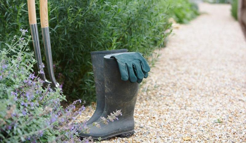 Gartenweg mit Kräuterrabatte, Gummistiefeln und Gartenwerkzeug